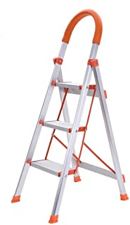 Lazapa 3 Step Ladder Folding Step Stool, Multi-use Aluminum Sturdy Step Stool with Rubber Hand Grip, Anti-Slip Safe Stability Stepladder for Household, Outdoor Portable, 330lbs, 16.5