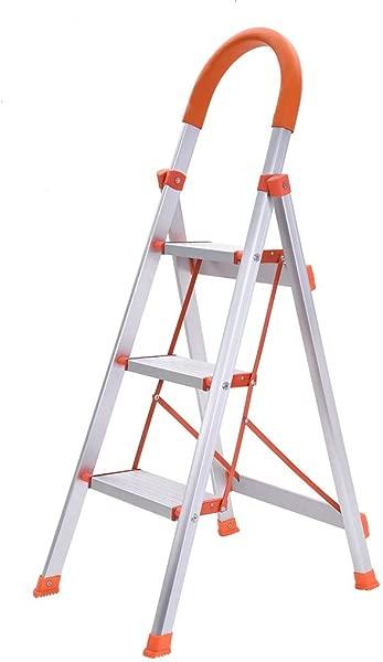 3 Step Ladder Folding Stepladder Platform Stool Aluminum Step Stools Ladderswith Handgrip Anti Slip White