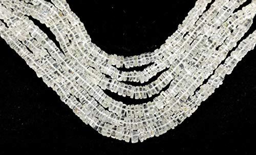 Shree_Narayani Cuentas sueltas de topacio blanco de alta calidad, lisas, cuadradas, 4-5 mm, 40,6 cm, para hacer joyas, manualidades, collares, pulseras, pendientes, 1 hebra