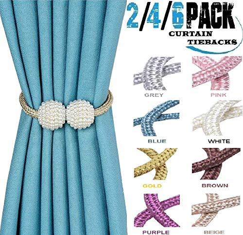 HoHnH Beige 2 Pearl Magnetic Curtain Tiebacks Clips Decorative Rope Holdbacks, Drapery Tie Backs Weave Holder for Window Draperies Hold Curtains Drape Ties Backs 16 inch Holdback (Beige, 2)