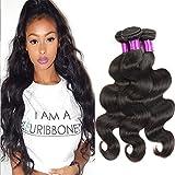 Body Wave, armadura de cabello humano, 3 paquetes, sin procesar, extensiones de cabello virgen brasileño, color negro natural (18 20 22 pulgadas)