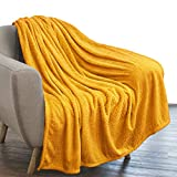 PAVILIA Luxury Flannel Fleece Blanket Throw Mustard Yellow| Soft Decorative Jacquard Weave Microfiber Throw for Bed Sofa Couch | Velvet Textured Leaves Pattern | Lightweight Plush Cozy Warm | 50'x60'