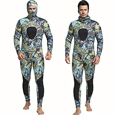 Nataly Osmann Camo Spearfishing Wetsuits Men 3mm /1.5mm Neoprene 2-Pieces Hooded Super Stretch Diving Suit (Camo02-1.5mm, XL)