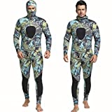 Nataly Osmann 3mm /1.5mm Camouflage Spearfishing Wetsuits 2-Pieces Hooded Scuba Diving Suit for Men (Camo01-3mm, M)