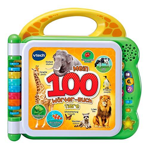 VTech 80-609544 Mein 100-Wörter-Buch: Tiere, Babybücher bilingual, Englischlernen