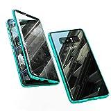 Jonwelsy Funda para Samsung Galaxy Note 8, Adsorción Magnética Parachoques de Metal con 360 Grados Protección Case Cover Transparente Ambos Lados Vidrio Templado Cubierta para Note 8 (Verde)