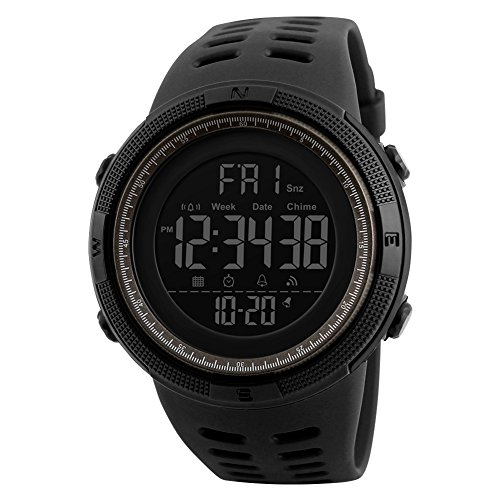 Reloj deportivo digital para hombre, con LED, de cuarzo, con alarma, cronómetro, doble zona horaria, cuenta regresiva EL, calendario, fecha y color negro y marrón