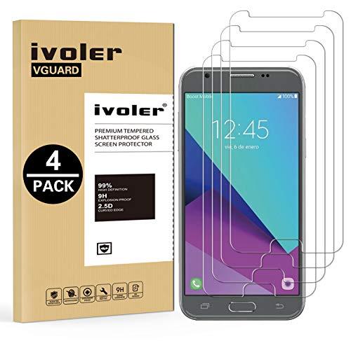ivoler [4 Unidades] Protector de Pantalla Compatible con Samsung Galaxy J3 2017, Cristal Vidrio Templado Premium [Dureza 9H] [Anti-Arañazos] [Sin Burbujas]