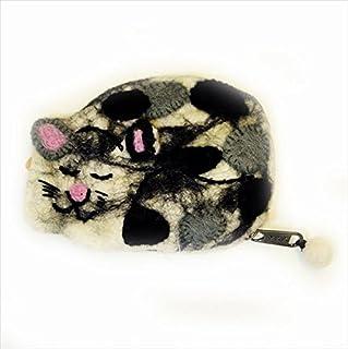 レビューを書いたらメール便【国内 Free】 94389 ニードルウールフェルト縞模様キャット居眠りネコパース7柄 YKKジッパー使用 縞模様 アイランドキャット三毛猫ニュージーランドウール100% (オレンジペース+ターコイズパッチ)