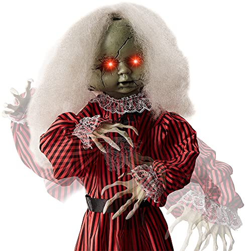 Best Choice Products Animatronic Roaming Creepy Doll Halloween Decoration, Haunted Holly Sound and Motion Activated Holiday Prop w/Light-Up LED Eyes, Pre-Recorded Phrases