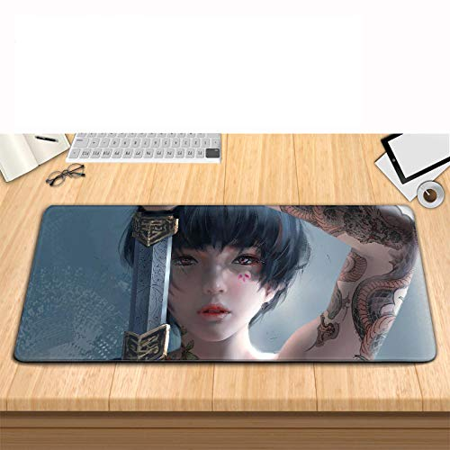 LVQIANHOME Gaming Mauspads Geistermesser-Drache XXL Gaming Mauspad groß - 900 x 400 x 4 mm - Fransenfreie Ränder - rutschfest - XXL Mousepad - Schreibtischunterlage