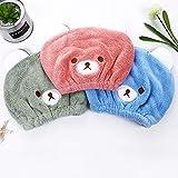 Abcsea 2 piezas toalla para el cabello saca rapido para niños, toalla de pelo de secado rápido, toalla turbante microfibra para secar el pelo, gorro de pelo para niños, azul y rosa