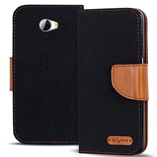 Verco Y5 II Hülle, Schutzhülle für Huawei Y6 2 Compact Tasche Denim Textil Book Hülle Flip Hülle - Klapphülle Schwarz