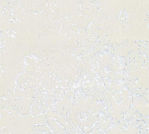 Architects Paper Textiltapete Metallic Silk Tapete mit Blumen floral 10,05 m x 0,53 m grau metallic Made in Germany 306572 30657-2