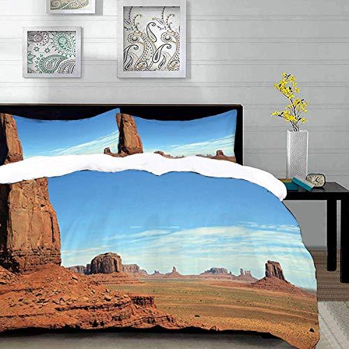ropa de cama - Juego de funda nórdica, americano, vista panorámica de Monument Valley Sandstone Butte Rocks Imagen del paisaje del desierto del salvaje oeste, Juego de funda nórdica de microfibra con