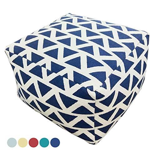 Soma Design Pouf Kelim Style Bodenkissen Sitzhocker Sitzwürfel Maja 55x37x55 cm handbedruckt in 5 Farben (BxHxL) 55 x 37 x 55 cm blau - navi Blue
