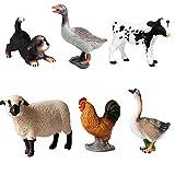 JOKFEICE Figuras de animales 6 pcs Realista Plástico Figuras de aves de corral Incluye Perro, Ganso, Ternero Holstein etc. Proyecto de Ciencia, regalo de cumpleaños, Decoración de Pastel para niños(A)