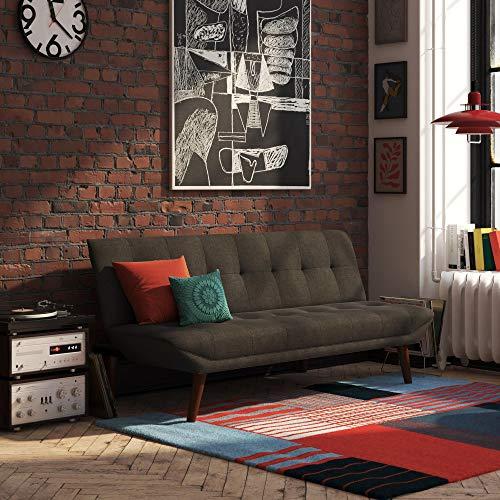 DHP Adley Small Space Modern Convertible Sofa Bed, Grey Linen Futon, Dark Gray