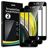 ESR【2枚入り】 iPhone SE 第2世代ガラスフィルム iPhone8 iPhone7対応 2020 新型 高品質強化ガラス液晶保護フィルム【ガイド枠付き】3D曲線エッジガラス 最大限保護 全面カバー ブラック