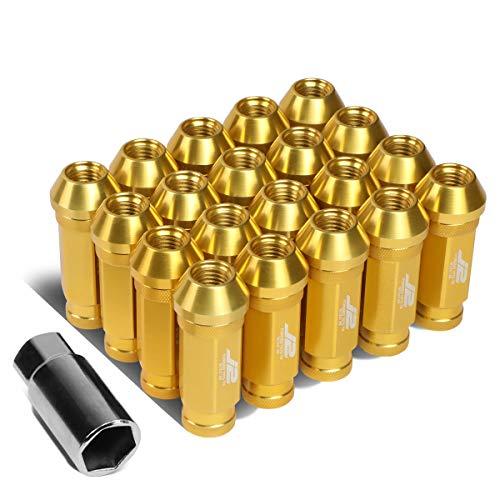 J2 Engineering LN-T7-028-15-GD 7075 Aluminium Gold M12 x 1,5 20 Stück L: 60 mm offene Radmutter mit Adapter