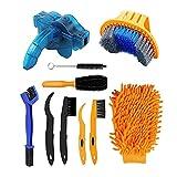 QeeHeng Kit de herramientas de limpieza de bicicletas,incluye depurador de cadena de bicicleta, 10 piezas,adecuado para montaña, carretera, ciudad, híbrido, bicicleta BMX y bicicleta plegable