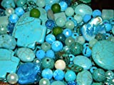 Variety of Mix Gemstones 100 Grams Semi-precious Turquoise & Crystals Size 4mm-25mm (Small to Xl) Focal Pieces, Turquoise