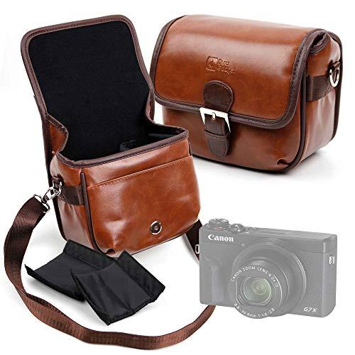 DURAGADGET Bolsa Profesional marrón con Compartimentos Compatible con Cámara Canon PowerShot G5 X Mark II, Canon PowerShot G7 X Mark III Tamaño Mediano.