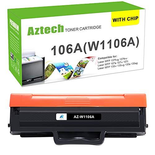 (Mit Chip) Aztech Kompatibel 106A Toner Cartridge Replacement für HP W1106A Toner für HP 135wg 107w HP Laser MFP 135wg 107w 137fwg Toner HP MFP 135ag 137fnw Toner HP 135a 135w 107a (1 Pack,Schwarz)