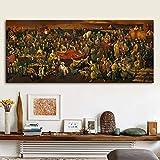 HCHD Pintura Famosa Ilustraciones de la Lona Discutiendo la Divina Comedia con Dante Wall Art imágenes Imprimir Carteles for la Sala de Estar (Size : 70x165cm)