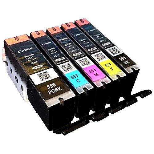 5x Original Setp-UP Tintenpatrone für Canon Pixma IP 7250 MG 5450 MG 6350 MX 725 MX 925 PGI550 PGI 550 CLI551 CLI 551 - BK, PBk, Cy, Ma, Ye - Neutrale Verpackung