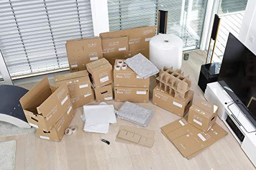 Umzugskomplettpaket für 4- bis 5- Zimmer-Wohnung | 60x KARTONARA Box Umzugskartons + 10x Box S + 1x Kleiderbox + diverse Packmaterialien