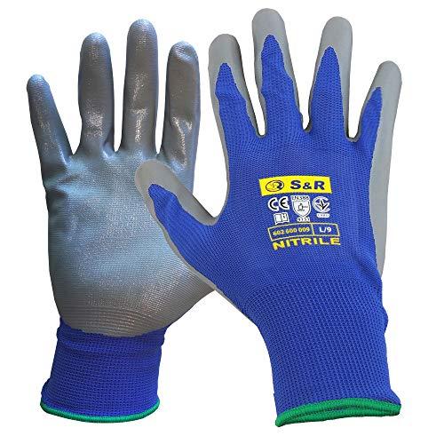 S&R Schutzhandschuhe 12 Paar mit Nitrilbeschichtung in XL/10, Anti-Rutsch Arbeitshandschuhe für Montage, Bauen, Restauration