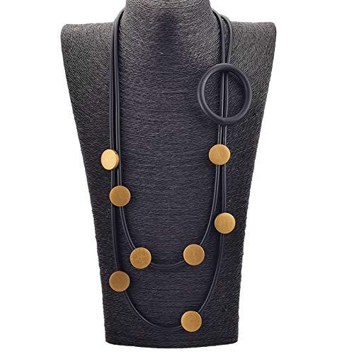 Shulcom Collar Collar Joyas de Goma Collar de suéter Joyas Circulares Joyas de Madera Cadena