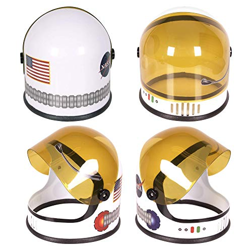 Astronaut Helmet with Movable Visor - Pretend & Play Toy for Dress Up Fun, Role Play Accessory, Birthday Party Favor Supplies, Girls, Boys, Kids and Toddler. White