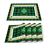 T&H XHome St.Patrick's Non-Slip Placemats for Dining Table,St. Patrick's Day Lucky Shamrock on Buffalo Plaid Border Washable Table Mats Heat Resistant Stain Resistant Kitchen Table Placemat Set of 6