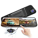 [2020] Dual Lens Mirror Dash Cam, 11.8' 1296P Sony Split Screen Car Camera, Waterproof 1080P Backup Camera Rear View Mirror Camera, with Night Vision WDR Parking Assistance, Support 128GB Max