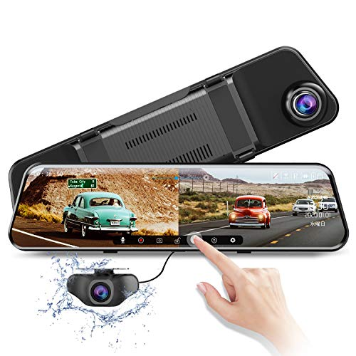 "[2020] Dual Lens Mirror Dash Cam, 11.8"" 1296P Sony Split Screen Car Camera, Waterproof 1080P Backup Camera Rear View Mirror Camera, with Night Vision WDR Parking Assistance, Support 128GB Max In-Mirror Video"