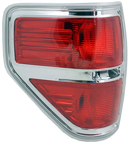 Tail Light Lens and Housing Compatible with 2009-2014 Ford F-150 Styleside Chrome trim CAPA Driver Side