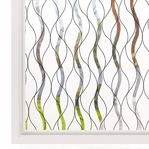 Vinyl raamfolie Statische privacydecoratie Zelfklevende folie UV-blokkering Warmteregeling Glasraamstickers, 60x100cm