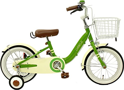 CHIBICLE チビクル 子供用自転車 14インチ チェーンカバー カゴ 泥除け 補助輪付き グリーン MKB14-34-GR