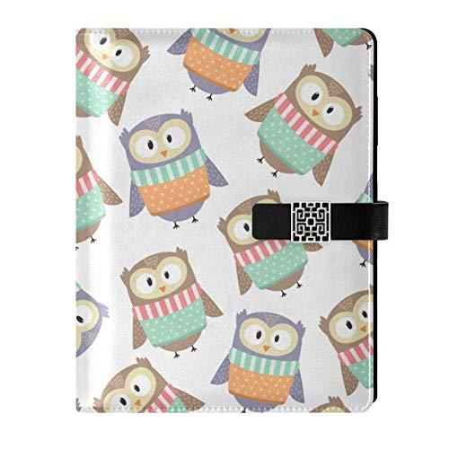 Cuaderno de cuero para diario, cuaderno de viaje, bonito búho rellenable A5 interior de relleno, carpeta de anillas, cuaderno de tapa dura, regalo para mujeres y hombres