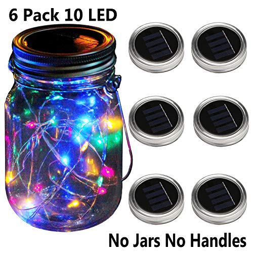 KZOBYD 6 Pack Mason Jar Lid Solar Waterproof Fairy Starry Firefly Lights for Regular Mouth Mason Jar Lantern on Patio Yard Pathway Festivals Home Decor(Jars Not Included)(6, Colorful)