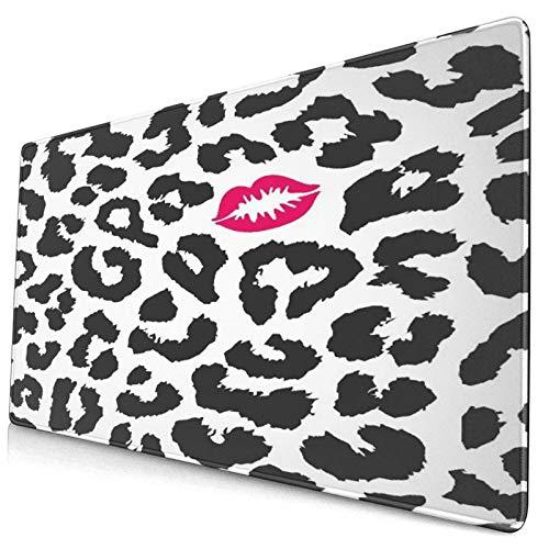 Extra Groß Spiele Mauspad mit Genähten Kanten,Leopard Cheetah Animal Print mit Kussform Lippenstift Mark Dotted Trend Art,Rutschfest Gummibasis Computer Tastatur Matte,29.5