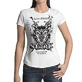 Camiseta Mujer Serie Televisión Juego de Tronos - Game of Thrones, Casa Stark (Blanco, S)