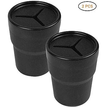 Laduup 2 Stück Auto Mülleimer, Automatischer Organizer für Müll Müll Staubbehälter Lagerung Barrel passt Becherhalter in Konsole oder Tür (schwarz)