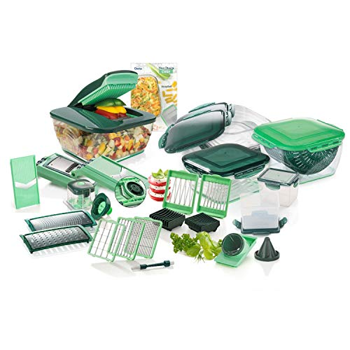 Genius Nicer Dicer Chef Deluxe XXL 37-teilig mit Glasschüssel-Set, Tomaten-Gemüse-Schneider & 3in1 Siebschüssel - Zerkleinerer Zwiebelschneider Pommesschneider