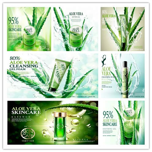 Beauty makeup skincare cosmetics posters aloe cream essence of aloe vera gel background EPS template vector design material 0022