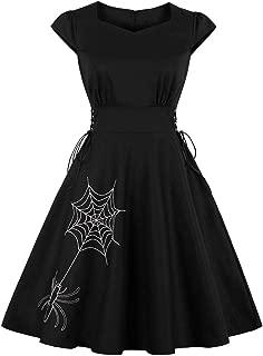 Loose Women's Dress Halloween Spider Net Print Hepburn Embroidery Trim Swagger Dresses Round Collar Retro Skirt