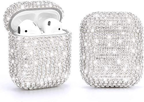 Strass Case Kompatibel mit Apple AirPods 1 & 2, Schutzhülle Luxuriöse Diamanten AirPod Charging Schutzhülle für Apple I10 / I12 TWS (Silber)