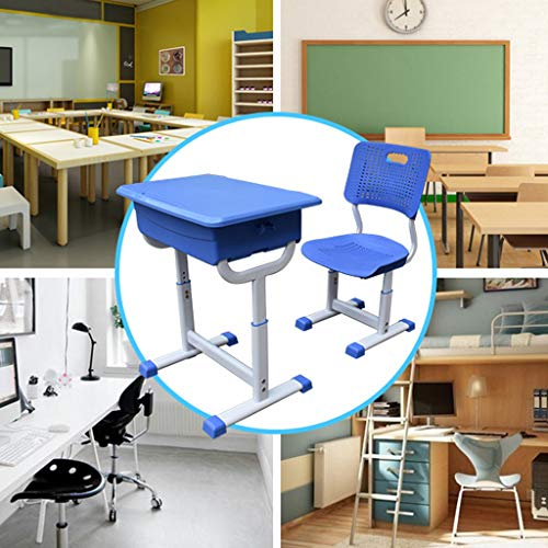 KANGMOON Super Fast Logistics - Kids Study Desk and Chair Set,Height Adjustable Children School Table Large Writing Board Desk with Pull Out Drawer with Blue Pedestal Frame